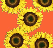 Ipad case - Sunflowers Sunset Orange by Mark Podger