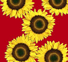 Ipad case - Sunflowers Racy Red by Mark Podger