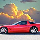 Red Corvette, Golden Clouds by DaveKoontz