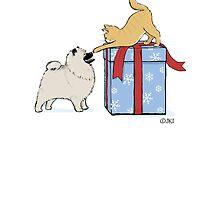 Keeshond Puppy and Kitten by Jenn Inashvili