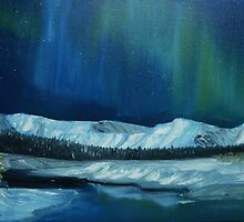 Northern Lights over the Canadian Rockies Foothills by towncrier