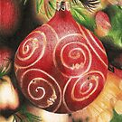 Coloured pencil Bauble Christmas Card by EvaHolder
