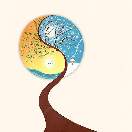 Yin-Yang Tree: Summer-Winter by BelleFlores