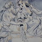 Marble statues, Parliament, Vienna Austria. 2010 Pen and wash. Framed. FOR SALE inquire at lizmooregolding@gmail.com  by Elizabeth Moore Golding