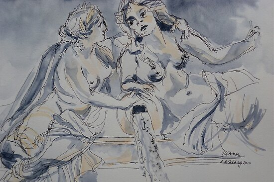 Marble statues, Parliament, Vienna Austria. 2010Ⓒ Pen and wash. Framed. FOR SALE inquire at lizmooregolding@gmail.com  by Elizabeth Moore Golding