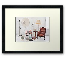 retro furniture and decoration in white room Framed Print