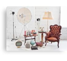 retro furniture and decoration in white room Canvas Print
