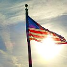 Sun Shining Through US Flag by ThinkPics