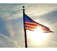Sun Shining Through US Flag Photographic Print