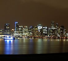 Downtown Skyline @ Night, Vancouver Panoramic by Michiel Meyboom