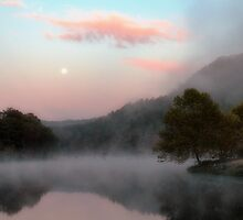 Moonset And Sunrise by Carolyn  Fletcher