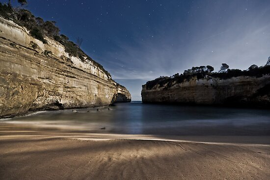 Loch Ard Gorge Beach with Moonlight Shadows by pablosvista2