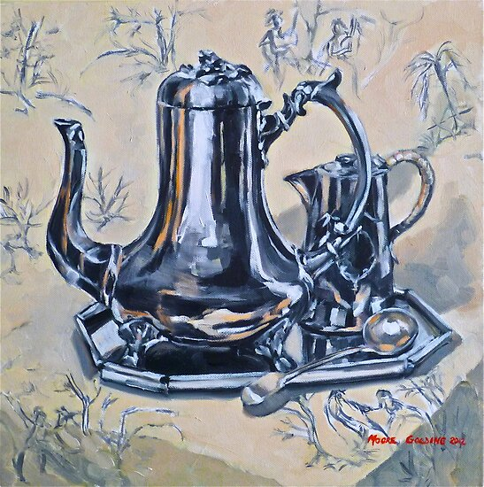 Silverware on toile. Oil on canvas. Framed 44x44cm 2012Ⓒ by Elizabeth Moore Golding