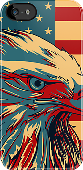 Retro American Patriotic Eagle Flag iPhone 5 Case /  iPad Case / iPhone 4 Case / Prints  / Samsung Galaxy Cases  by CroDesign