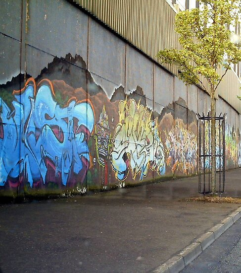 peace wall and tree by Kevin McLaughlin