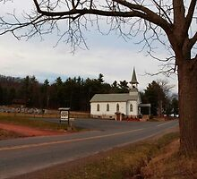 Country Church on a Country Road by Gene Walls