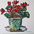 Cyclamen and old jardiniere 2012Ⓒ Oil on canvas. Framed 54x54cm. FOR SALE at lizmooregolding@gmail.com by Elizabeth Moore Golding