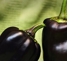Purple peppers by Lynn Starner