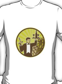 Waiter Serving Wine Grapes Barrel Retro  T-Shirt
