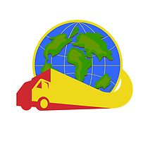 Delivery Truck Lorry Globe Retro by patrimonio