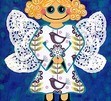 BLUE ANGEL IPAD COVER by Lisa Frances Judd ~ QuirkyHappyArt