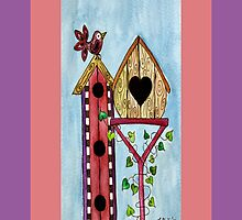 BIRD HOUSE IPHONE COVER by Lisa Frances Judd~QuirkyHappyArt