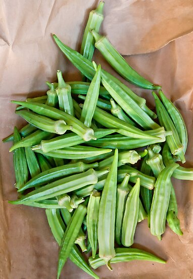 Organic Okra On A Paper Bag by Kuzeytac