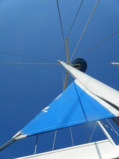 Sailboat Mast Amel Santorin in blue sky by SlavicaB
