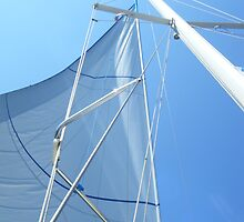 Sailboat Sail Amel Santorin in blue sky 3 #photography by SlavicaB