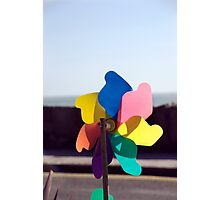 Colourful toy beach windmill, Salcombe, Devon, UK Photographic Print