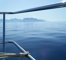 Sailboat Bow view of Greek Island by SlavicaB