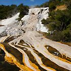 Silica Terrace with braided runoff. Orakei Korako. NZ by Ian Hallmond