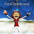 Touchdown For Christmas Holiday Greeting Card by Moonlake