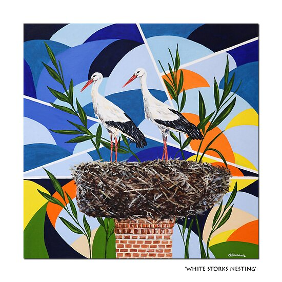 White Storks Nesting by A3Art