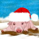 Winter Holiday Pig In Holiday Hat by Moonlake