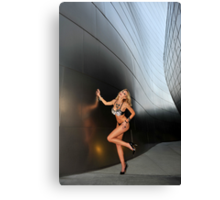 Blond girl in lingerie at LA cityscapes 2 Canvas Print