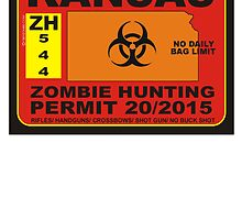 Zombie Hunting Permit KANSAS by BUB THE ZOMBIE