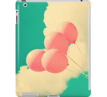 Happy Pink Balloons on retro blue sky  iPad Case/Skin