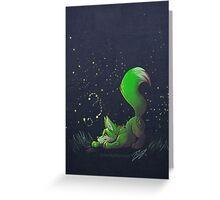 Firefly Fox - Green Greeting Card