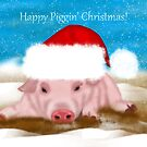 Happy Piggin Christmas - Christmas Greeting Card With Pig by Moonlake