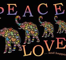 Hippie Elephant Peace, Love and Happiness Card by simpsonvisuals