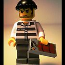 Convict Prisoner LEGO® City Minifigure with Dynamite Tile, by 'Customize My Minifig' by Chillee
