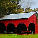 Red Shed - A Watercolor by Lisa Taylor