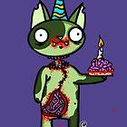 Zombie Birthday Cat with Brain Cake by jrock1184