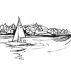Sailing from Donsö harbor - b/w by Rebecca Landmér