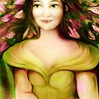Woman in Yellow with Magnolias by Iva Penner