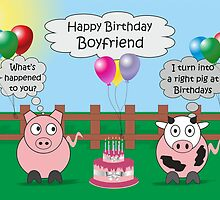 Funny Animals Boyfriend Birthday Hilarious Rudy Pig & Moody Cow    by Catherine Roberts
