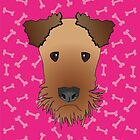 Airedale Terrier Cartoon Illustration on Pink Bones Background by Samantha Harrison
