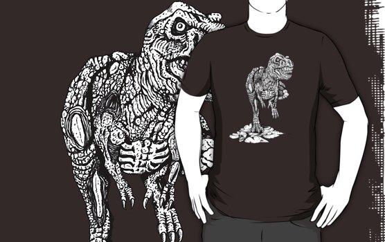 Zombie T-Rex Classic B/W by ZugArt
