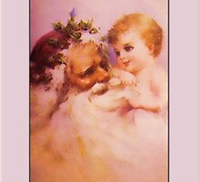 Vintage Baby and Santa Christmas Card by Pamela Phelps